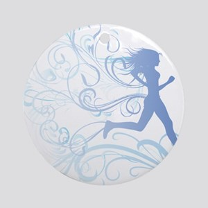 runner_girl_blue Round Ornament