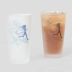 runner_girl_blue Drinking Glass