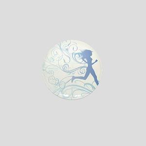 runner_girl_blue Mini Button