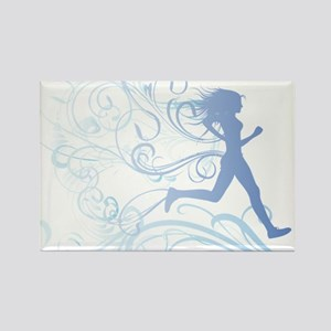 runner_girl_blue Rectangle Magnet