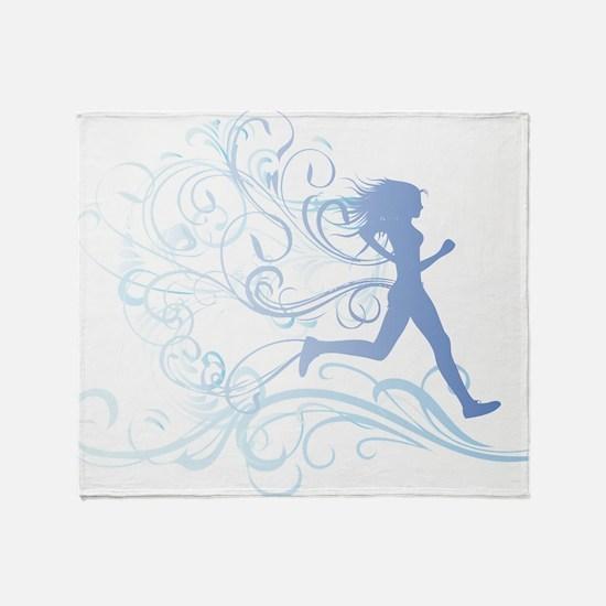 runner_girl_blue Throw Blanket