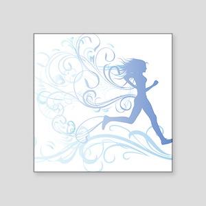 """runner_girl_blue Square Sticker 3"""" x 3"""""""