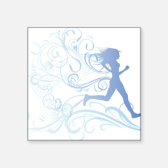 "runner_girl_blue Square Sticker 3"" x 3"""