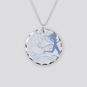 runner_girl_blue Necklace Circle Charm