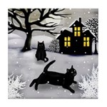 BLACK CATS SNOWY DAY Tile Coaster
