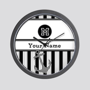 Black and White Stripe Monogram Wall Clock