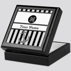 Black and White Stripe Monogram Keepsake Box