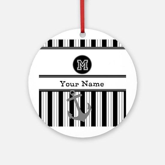 Black and White Stripe Monogram Ornament (Round)