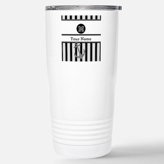 Black and White Stripe Monogram Stainless Steel Tr