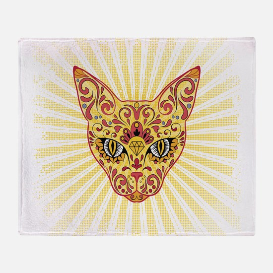 Cool Bright Egyptian style mystic cat Throw Blanke