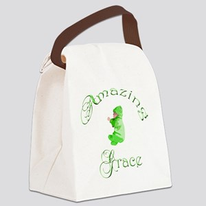 Amazing Grace GREEN VERTICAL Oliv Canvas Lunch Bag