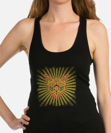 Cool Egyptian style mystic cat Racerback Tank Top