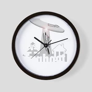funny tugboat and ufo design Wall Clock
