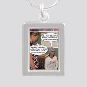 2-Point Of View Silver Portrait Necklace