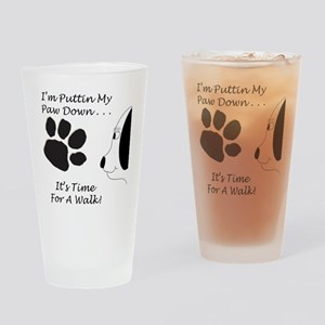 PawDownTranspDesign2 Drinking Glass