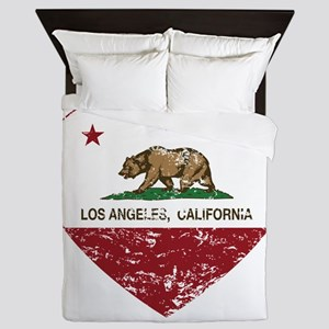 california flag los angeles heart distressed Queen