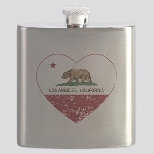 california flag los angeles heart distressed Flask