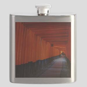 Torii Gates in Kyoto, Japan Flask