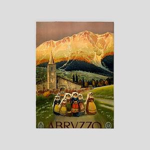 Vintage Abruzzo Italy Travel 5'x7'Area Rug