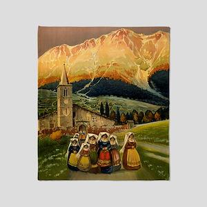 Vintage Abruzzo Italy Travel Throw Blanket