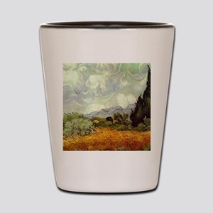Wheat Field with Cypresses Shot Glass