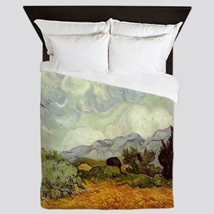Wheat Field with Cypresses Queen Duvet