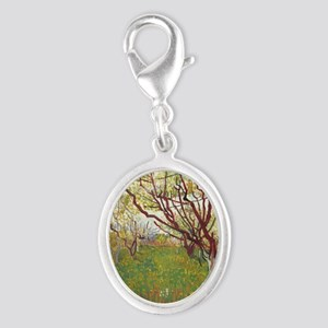 Cherry Tree Silver Oval Charm