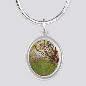Cherry Tree Silver Oval Necklace