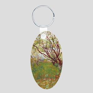 Cherry Tree Aluminum Oval Keychain