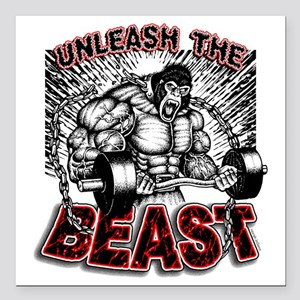 "Unleash The Beast 2 Square Car Magnet 3"" x 3"""