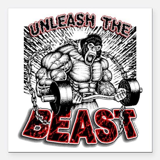 "Unleash The Beast 2 Square Car Magnet 3"" x 3"""