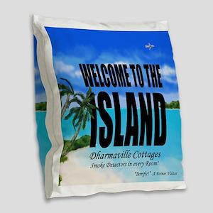Welcome to the Island Smoke De Burlap Throw Pillow