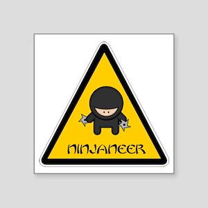 "ninjaneer_star_warning_dark Square Sticker 3"" x 3"""