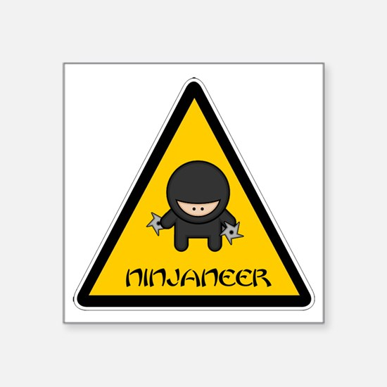 "ninjaneer_star_warning_dark Square Sticker 3"" x 3"""