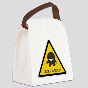 ninjaneer_star_warning_dark Canvas Lunch Bag