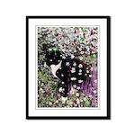 Freckles Tux Cat Flowers I Framed Panel Print