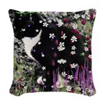 Freckles, Tux Cat in Flowers I Woven Throw Pillow
