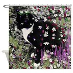 Freckles the Tux Kitty in Flowers I Shower Curtain