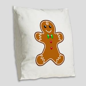 Gingerbread Man Burlap Throw Pillow