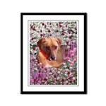 Trista Rescue Dog in Flowers Framed Panel Print
