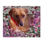 Trista the Rescue Dog in Flowers Throw Blanket