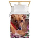 Trista the Rescue Dog in Flowers Twin Duvet
