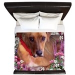 Trista the Rescue Dog in Flowers King Duvet