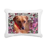 Trista Dog in Flowers Rectangular Canvas Pillow