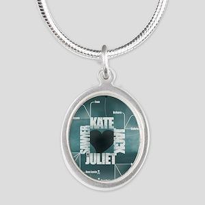 2-LostLoveDiagram Silver Oval Necklace