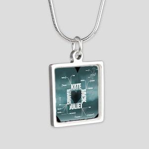 2-LostLoveDiagram Silver Square Necklace