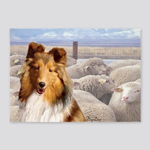 shelty with sheep2 5'x7'Area Rug