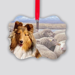 shelty with sheep2 Picture Ornament