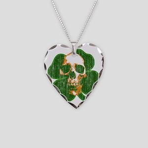 irish skull Necklace Heart Charm