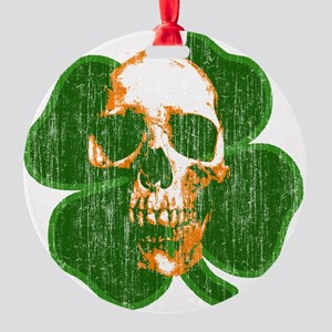 irish skull Round Ornament